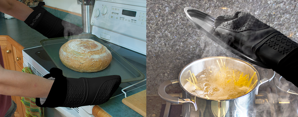 7 kitchen safety tips oven mitts and potholders